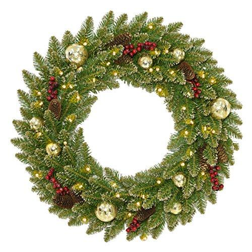 National Tree Glittery Gold Dunhill Fir Wreath with Battery Operated LED Lights
