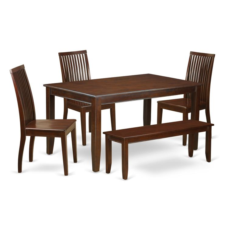 East West Furniture DUIP6-MAH-W 6 Piece kitchen nook dining set - Dinette table and 4 kitchen dining chairs in addition to a Bench