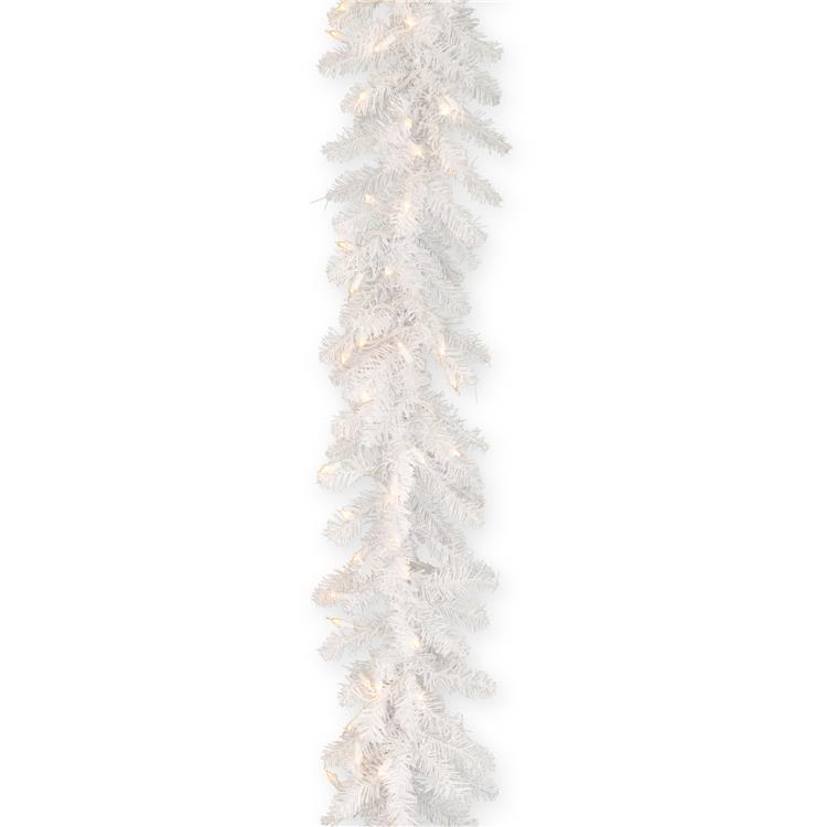National Tree 9 ft Dunhill White Fir Garland with Clear Lights
