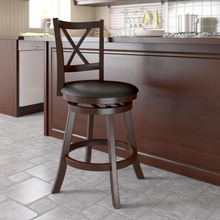 CorLiving Woodgrove Wooden Barstool in Leatherette
