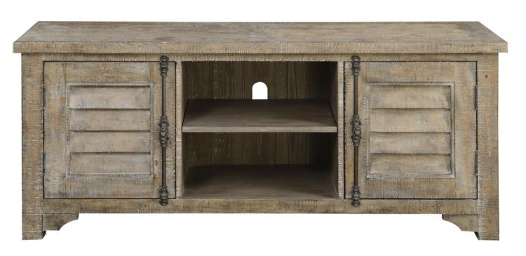 Emerald Home Interlude Sandstone Gray Media Console with Two Open Shelves And Hidden Storage