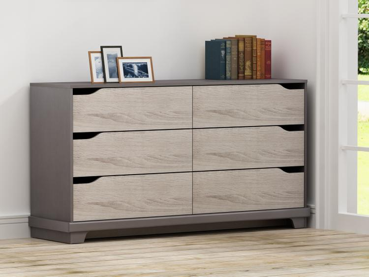 Homestar Waterloo 6-drawer dresser - Java Brown/Sonoma