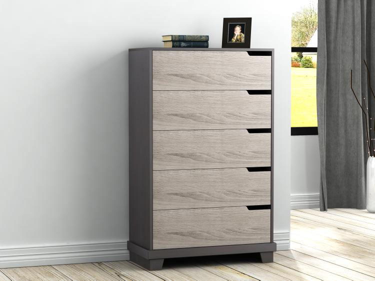 Homestar Waterloo 5-drawer chest - Java Brown/Sonoma