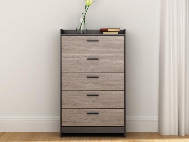 Central Park 5 Drawer Chest - Java Brown/Sonoma