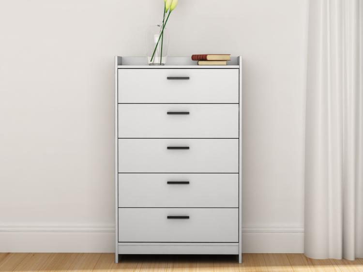 Central Park 5 Drawer Chest - White