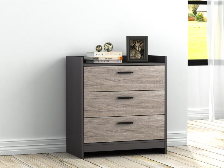 Central Park 3 Drawer Chest- Java Brown/Sonoma