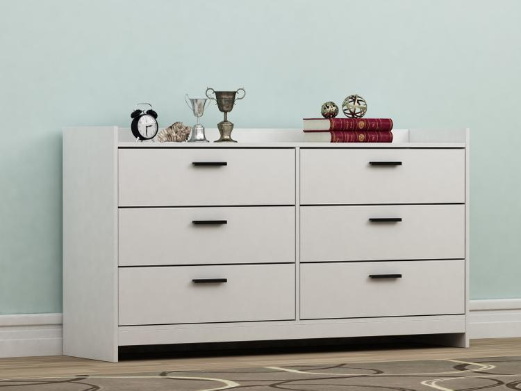 Central Park 6 Drawer Dresser - White