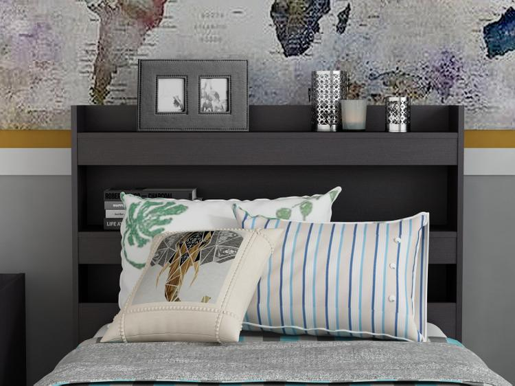 Central Park Twin Bookcase Headboard - Espresso