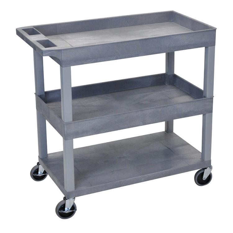 Luxor Cart - Two Tub/One Flat Shelves [Item # EC112-G]