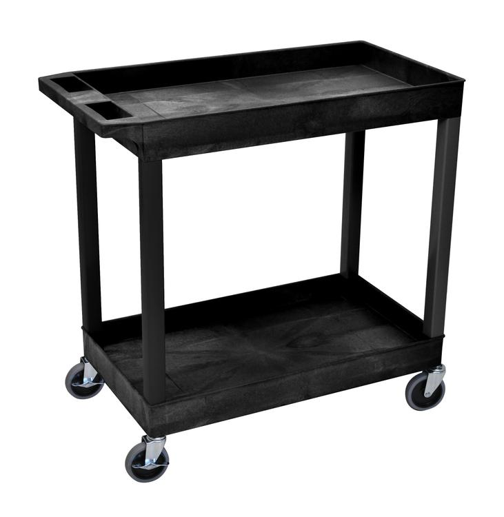 Luxor 2 Shelves Storage Plastic Tub Utility Cart [Item # EC11-B]