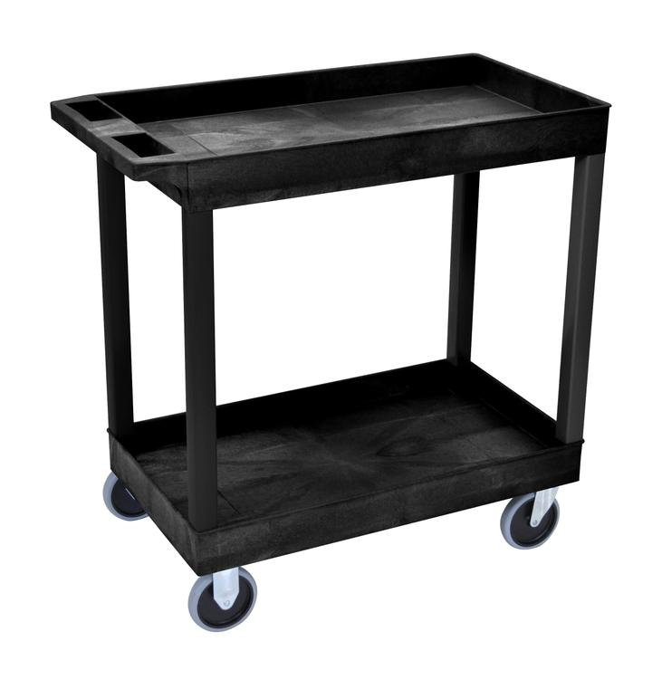 Luxor 2 Shelves Storage Plastic Tub Utility Cart [Item # EC11HD-B]