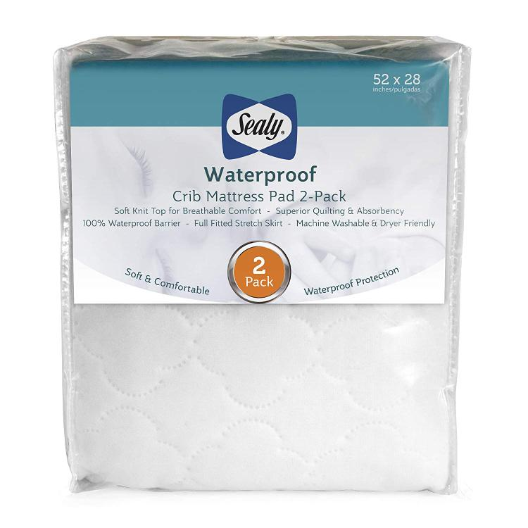 Sealy Waterproof Crib Mattress Pad 2 Pack