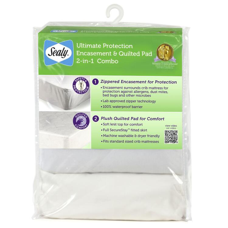 Sealy Ultimate Protecton Encasement and Quilted Crib Mattress pad 2-in-1 Combo Pack