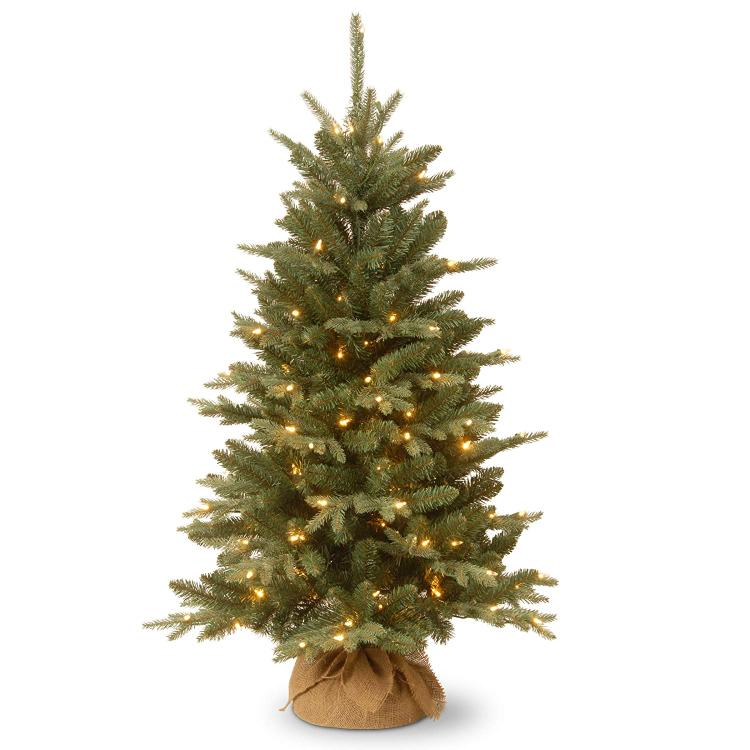 National Tree Everyday Collection Burlap Tree with Clear Lights