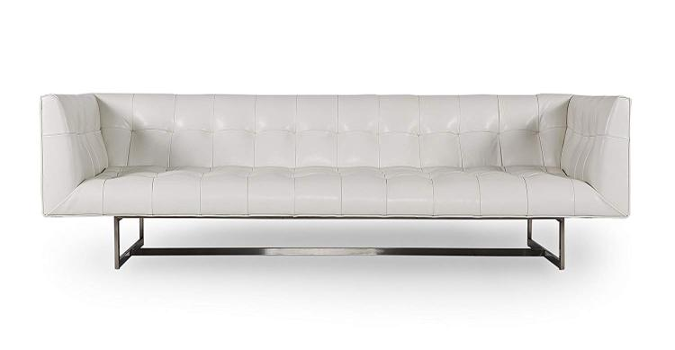 Terrific Kardiel Edward Midcentury Modern Premium Leather Sofa White Aniline Caraccident5 Cool Chair Designs And Ideas Caraccident5Info