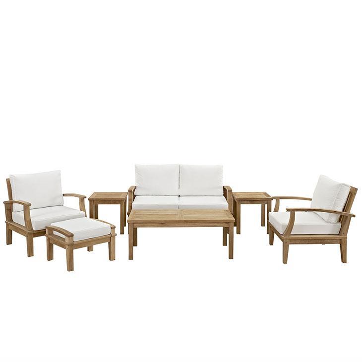 LexMod Marina Outdoor Patio Teak Sofa Set