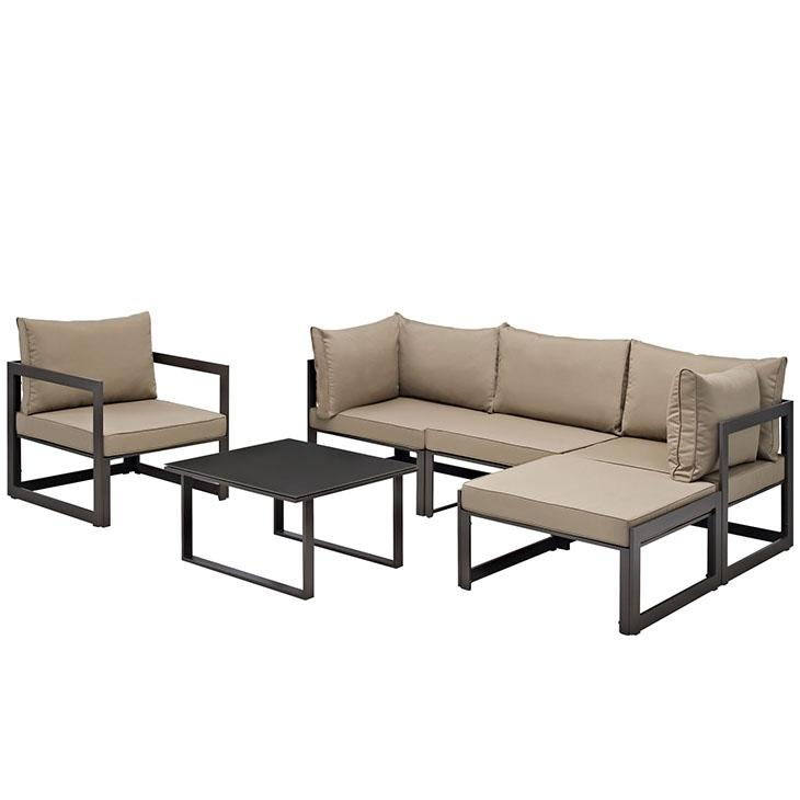 LexMod Fortuna Outdoor Patio Sectional Sofa Set