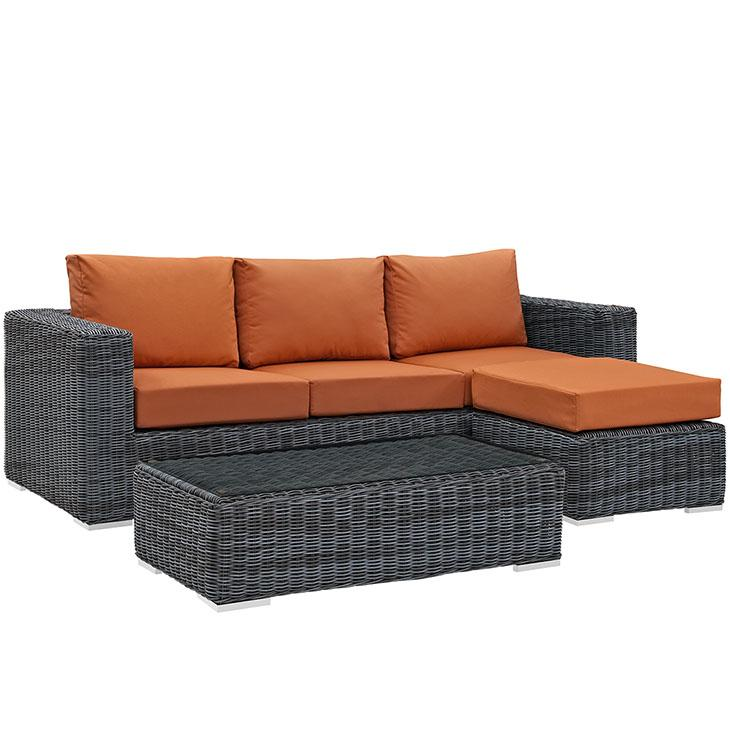 LexMod Summon Outdoor Patio Sunbrella® Sectional Set