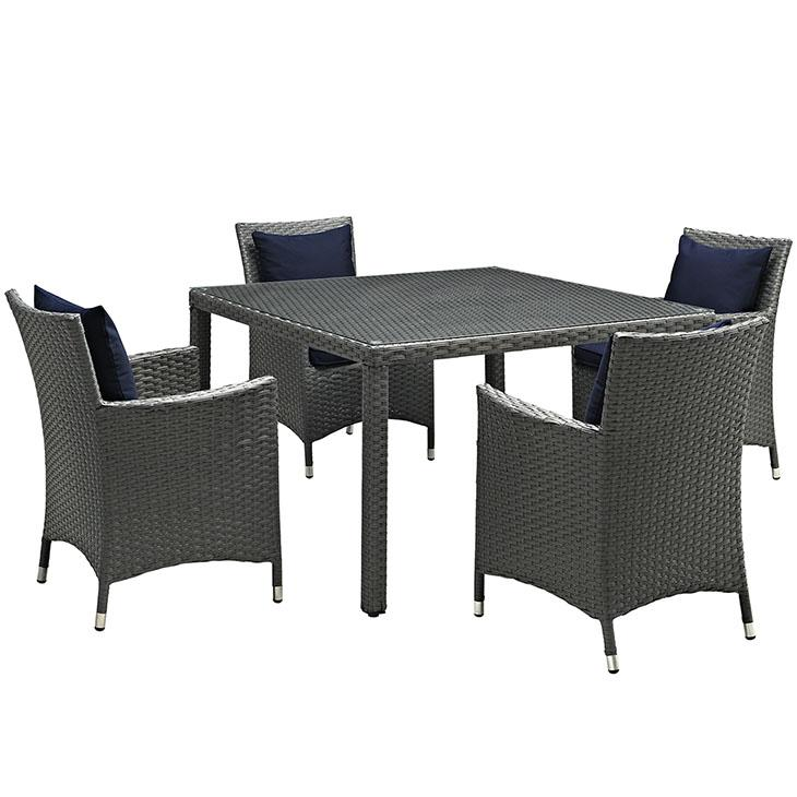 LexMod Sojourn Outdoor Patio Sunbrella® Dining Set