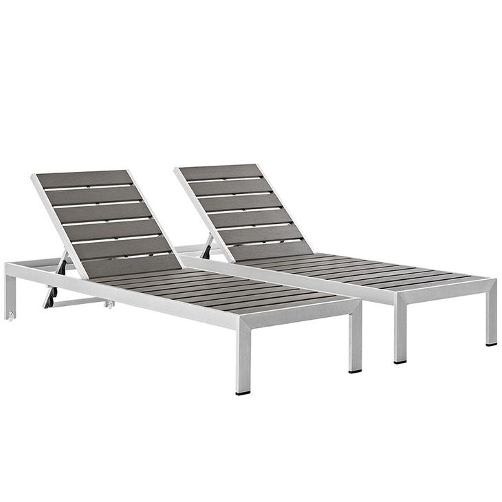 Modway Shore Outdoor Patio Aluminum Chaise Set