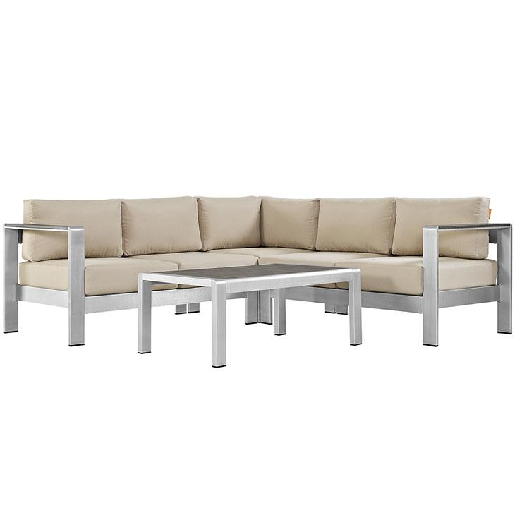 Shore Outdoor Patio Aluminum Sectional Sofa Set