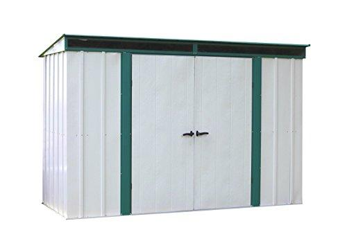 Arrow Sheds Euro-Lite, 10x4, Hot Dipped Galvanized Steel, Meadow Green / Eggshell, Pent Gable, 71.3