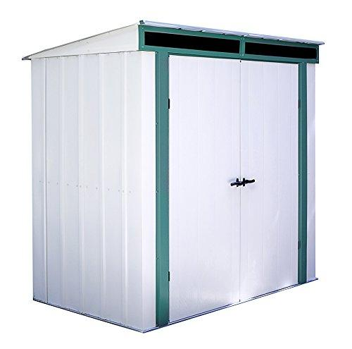 Arrow Sheds Euro-Lite, 6x4, Hot Dipped Galvanized Steel, Meadow Green / Eggshell, Pent Gable, 71.3