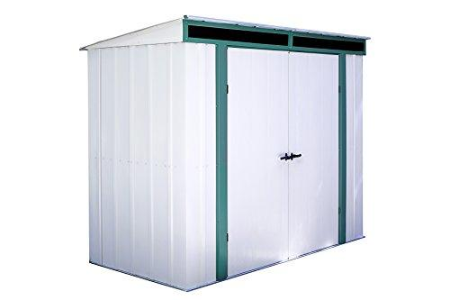 Arrow Sheds Euro-Lite, 8x4, Hot Dipped Galvanized Steel, Meadow Green / Eggshell, Pent Gable, 71.3