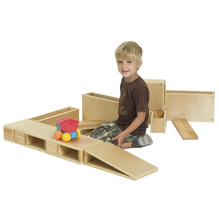 ECR4Kids Wooden Hollow Blocks - 18 Pc Set