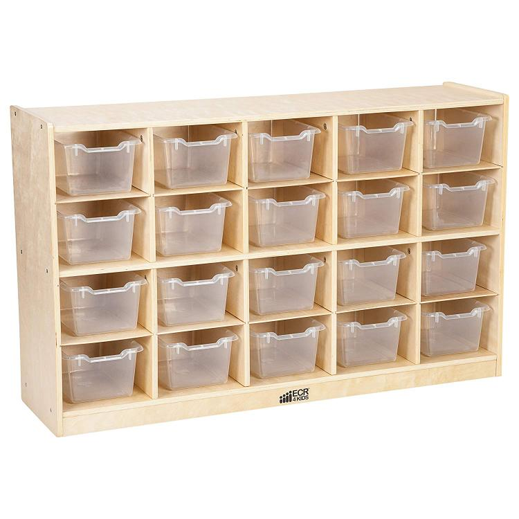 ECR4Kids 20 Tray Birch Storage Cabinet w/ 20 Bins