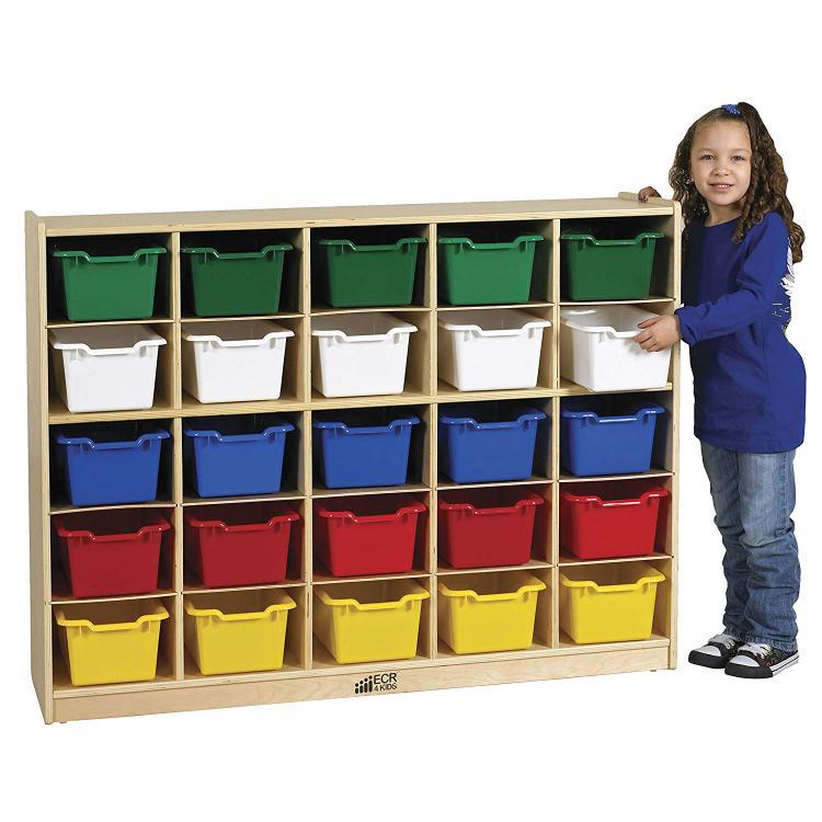 ECR4Kids 25 Tray Birch Storage Cabinet w/ 25 Bins