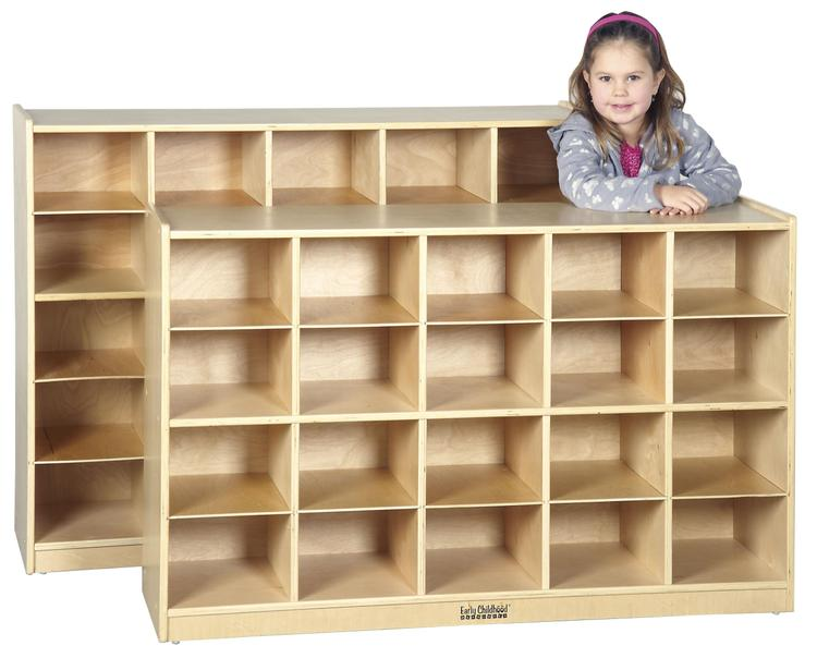 Birch Storage Cabinet with 25 Tray Cubbies