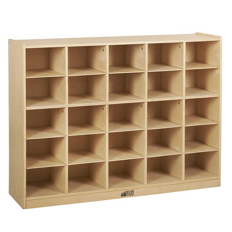 ECR4Kids Birch Storage Cabinet with 25 Tray Cubbies