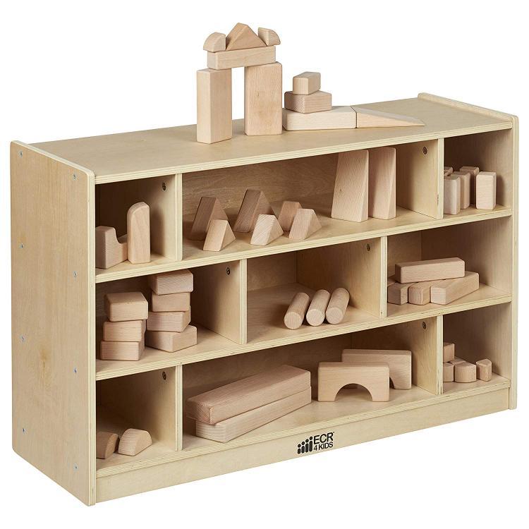 ECR4Kids Wooden Block Storage Cabinet