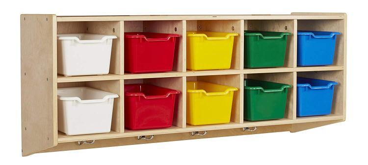 ECR4Kids 10-Section Hanging Coat Locker w/ Bins - AS