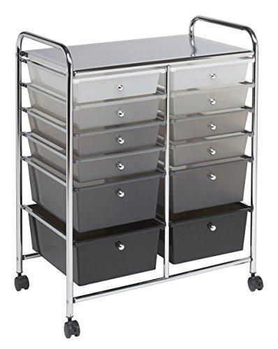 12 Drawer (8) Mobile Organizer - Grayscale