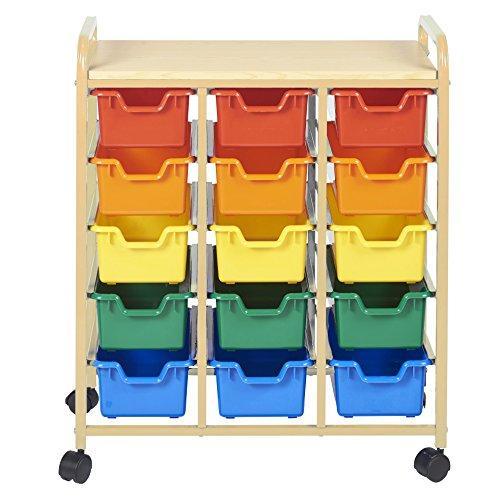 15-Bin Mobile Organizer, Sand, Assorted Bins