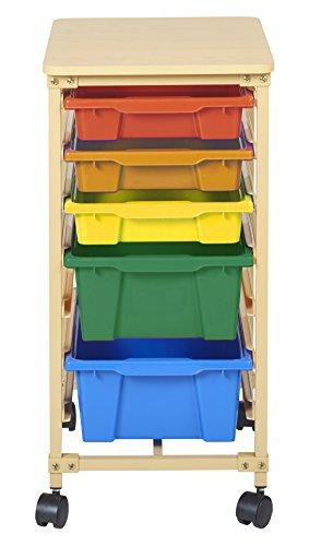 5-Tray Mobile Organizer, Sand, Assorted Bins