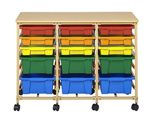 15-Tray Mobile Organizer, Sand, Assorted Bins