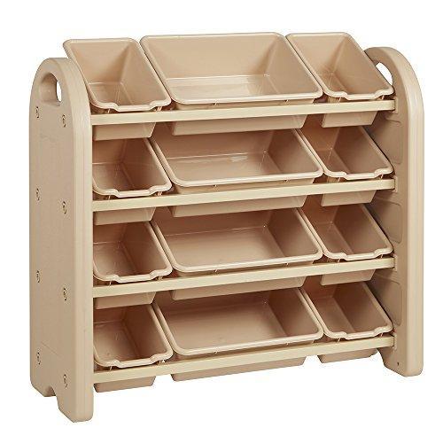 4-Tier Storage Organizer, Sand, Sand Bins