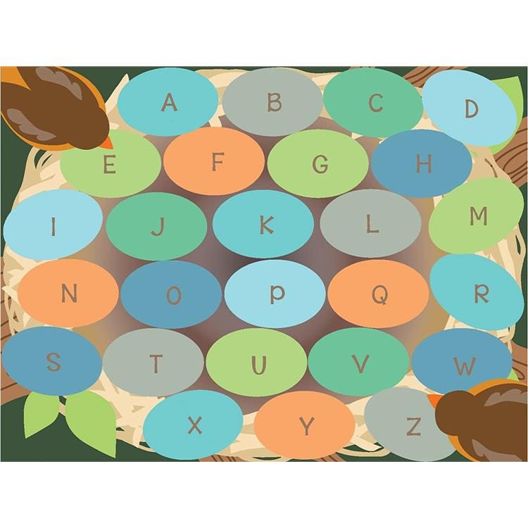 Robins Eggs Alphabet Seating Rug, 6'x9' Rect