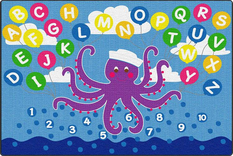 ECR4Kids Olive the Octopus Activity Rug, 9'x12' Rec