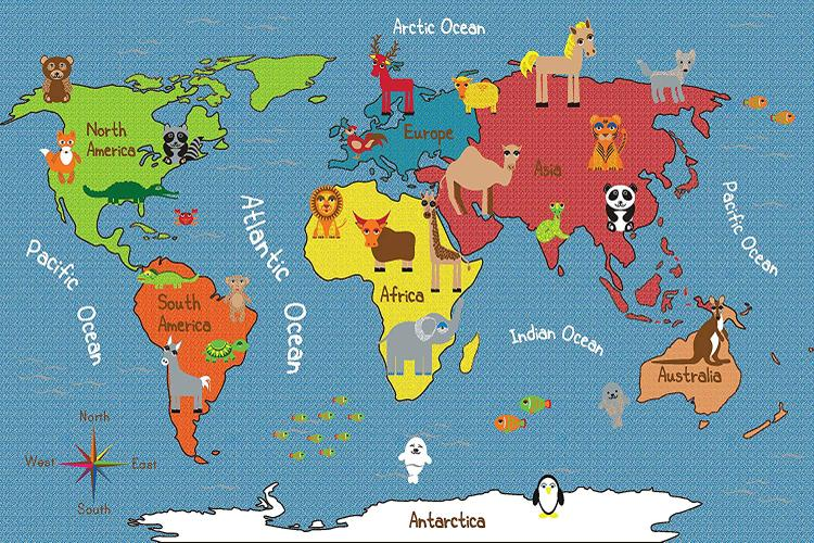 Animals of the World Activity Rug, 9'x12' Rec [Item # ELR-FE907-54A]