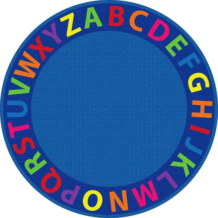 ECR4Kids A-Z Circle Time Seating Rug, 12' Round