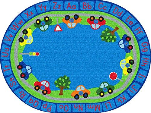 All Around Cars Alphabet Rug, 9'x12' Oval