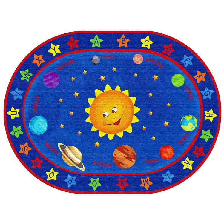 ECR4Kids Out of This World Alphabet, 6'x9' Oval [Item # ELR-FE912-35A]