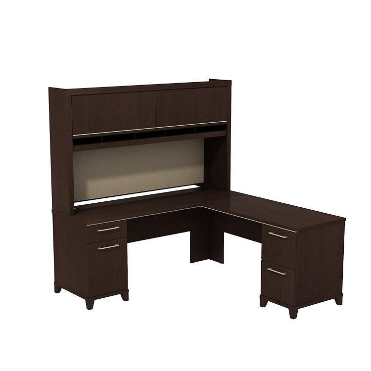 Bush  Furniture Enterprise 72W x 72D L-Desk with Hutch in Mocha Cherry [Item # ENT008MR]