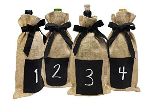 Epicureanist  Jute Chalkboard Wine Bag (Pack Of 4)