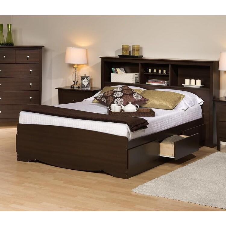 Platform Storage Bed w/ Bookcase Headboard
