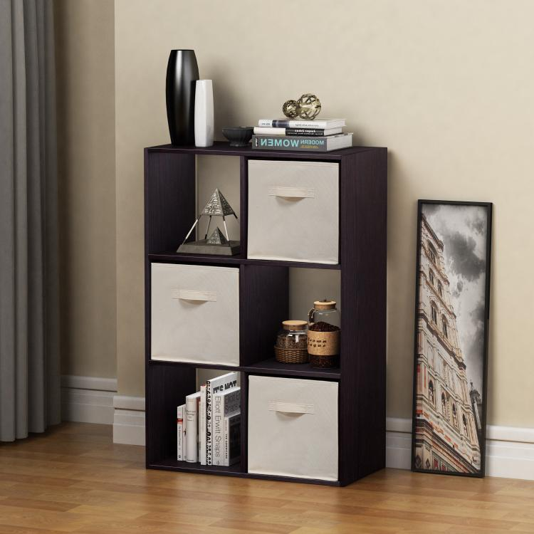 Homestar 6-Cube with Fabric Bins - Black Brown